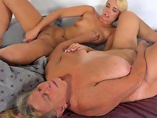 Oldnanny Old Lesbian Grandma Masturbating Pussy With Teen